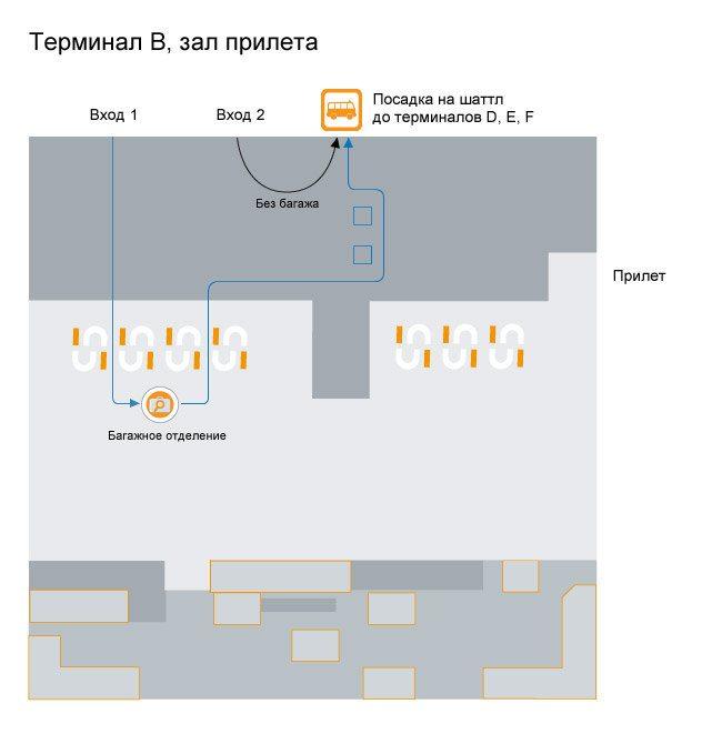 расположение остановки шатла в терминале В аэропорта Шереметьево