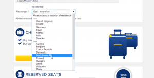 отказ от страховки на сайте Ryanair