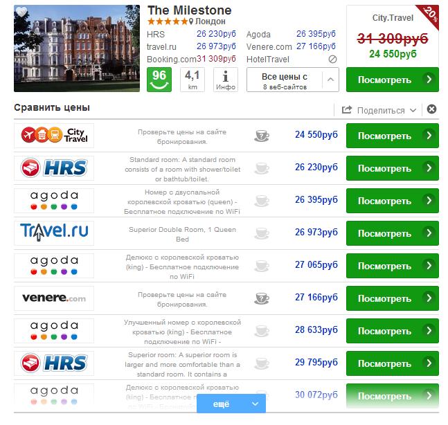 информация об отеле на trivago.ru