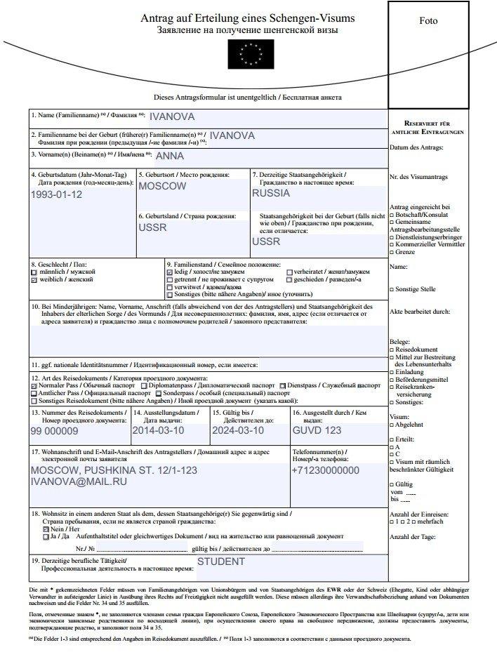 Формуляры Visa Management Service