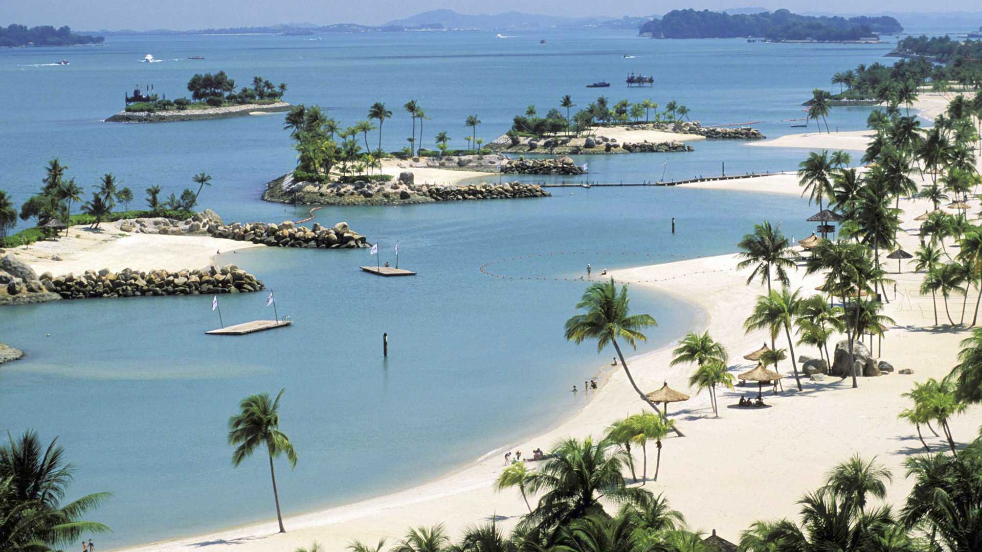 Пляж на острове Сентоза Сингапур