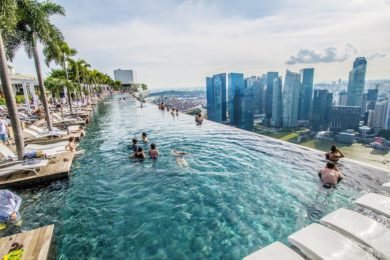 бассейн на крыше Marina Bay Sands Сингапур